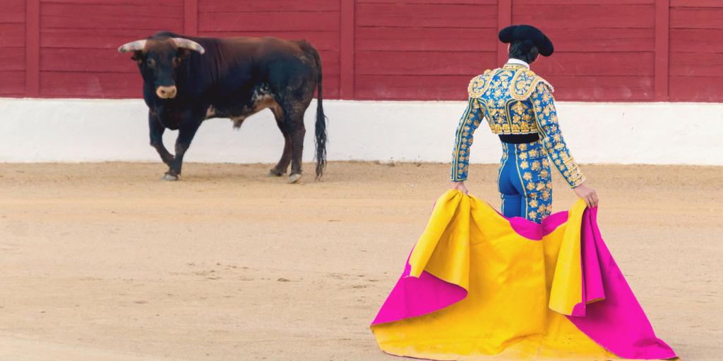 Bullfighter and bull in the ring in Spain