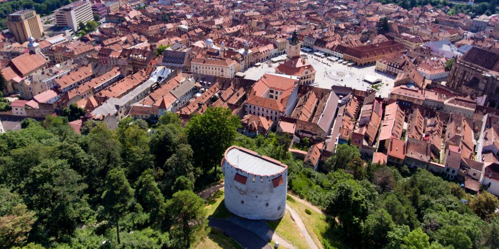 An aerial view of the White Tower fortification overlooking Brasov, Romania