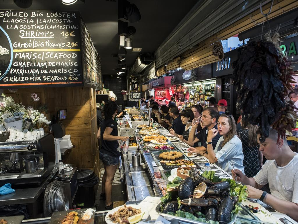 Tapas bar in La Boqueria market in Barcelona
