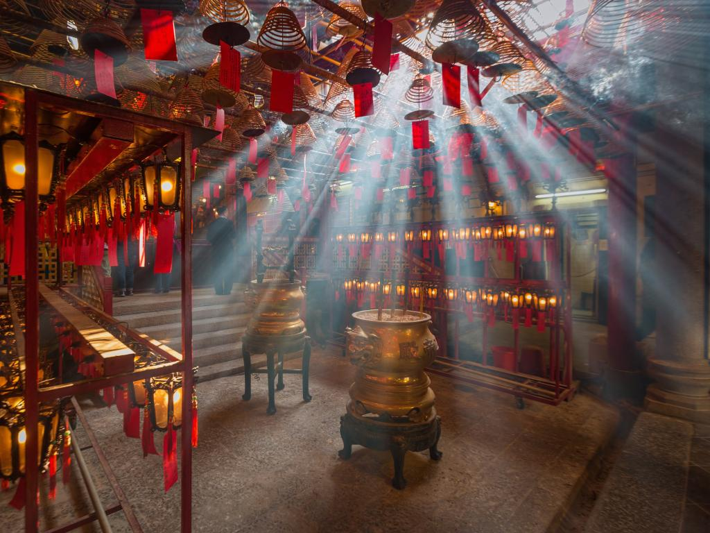 Inside the Man Mo Temple in Hong Kong