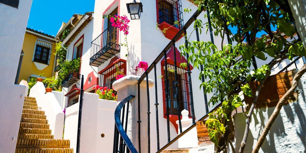 Spain road trip stop in white village of Benahavis