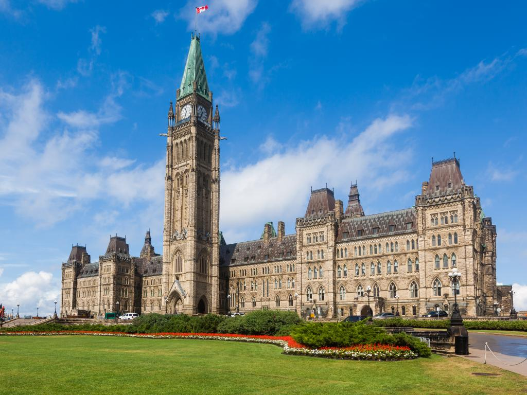 Canadian Parliament building and the Peace Tower on Parliament Hill in Ottawa, Canada.