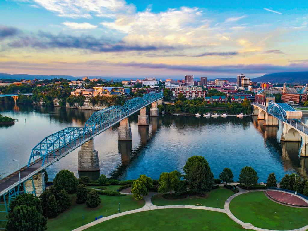 Scenic shot of Chattanooga and the Tennessee River