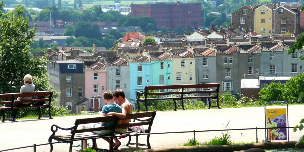 View of colourful houses from Brandon Hill Park, Bristol