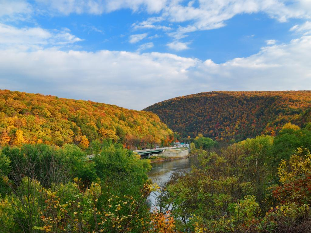 Delaware Water Gap in the Poconos Mountains in the fall near New York