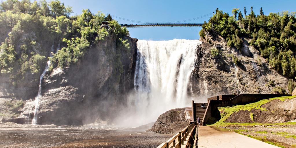A walkway leading up to the Montmorency Falls