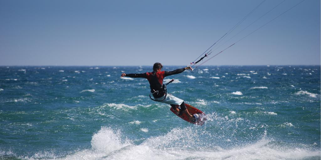 Man kite surfing in Tarifa, Spain