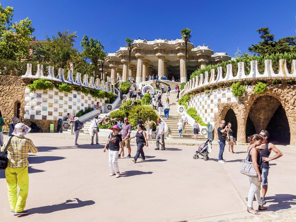 Entrance at the Parc Guell designed by Antoni Gaudi in Barcelona