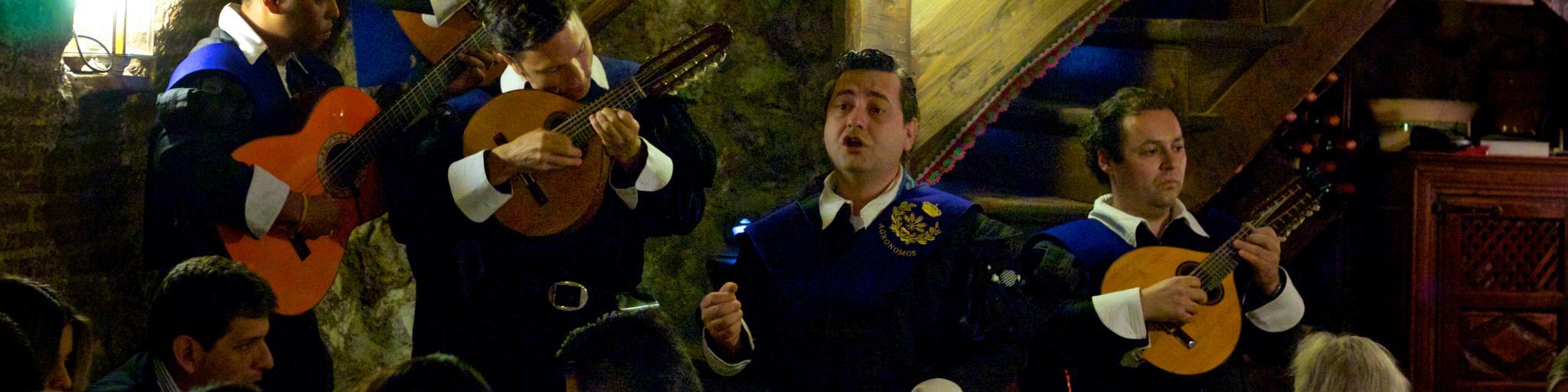 Singers and musicians serenade diners at Sobrino de Botin restaurant