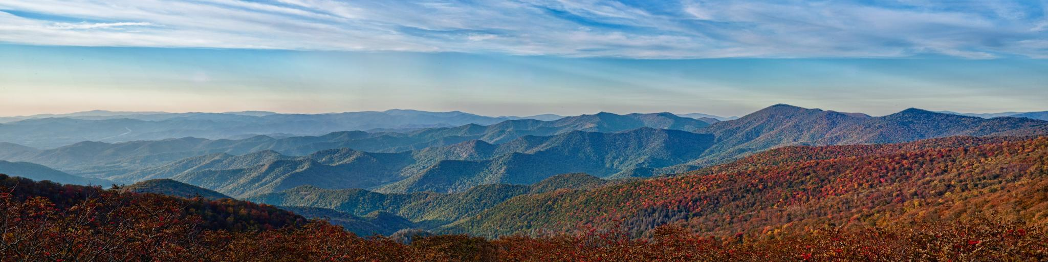 A panorama over the mountain landscape in the fall from the Blue Ridge Parkway in North Carolina