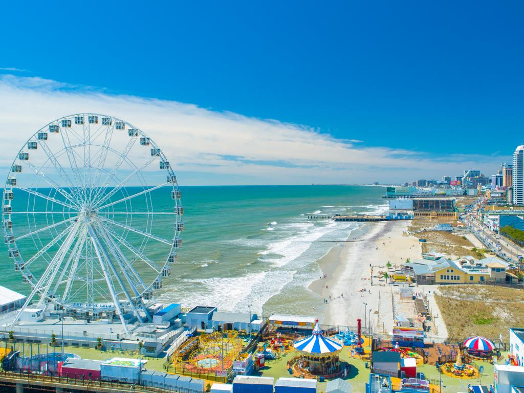 Atlantic City's Boardwalk and Steel Pier on a sunny day in New Jersey