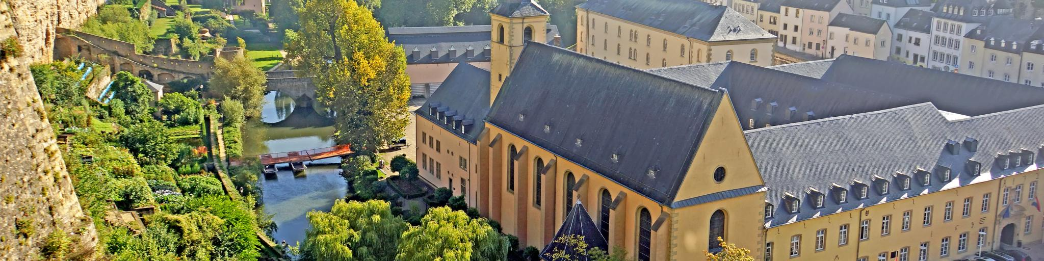 Neumünster Abbey and the old fortress walls in Luxembourg