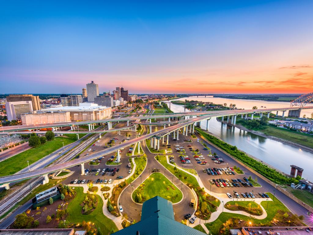 Skyline of Memphis, Tennessee, overlooking the Mississippi River and Mud Island