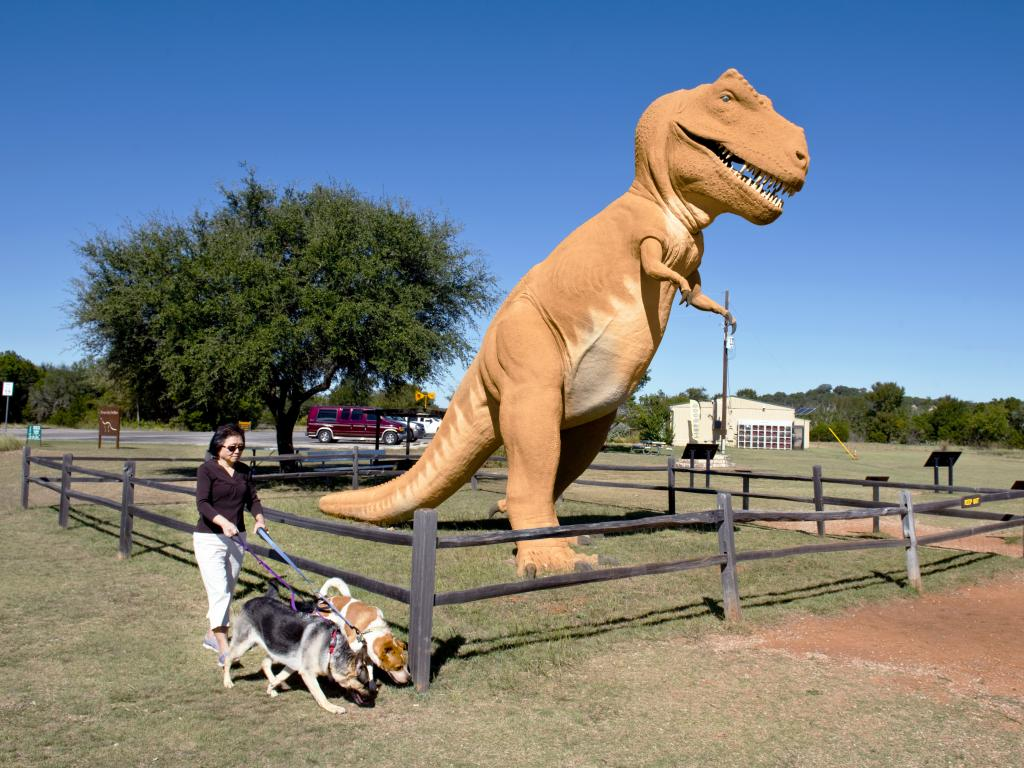 A T-rex installation at the entrance to the Dinosaur Valley State Park in Glen Rose, Texas.