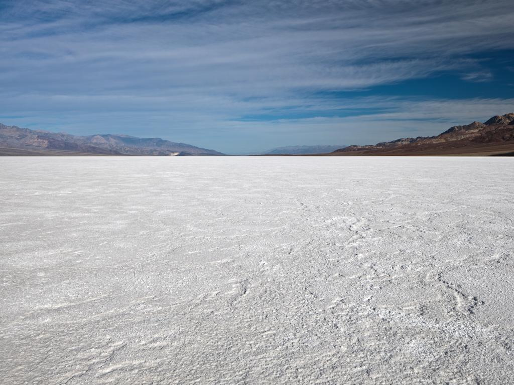 The dry bed of the Badwater Basin in the Death Valley National Park, California.