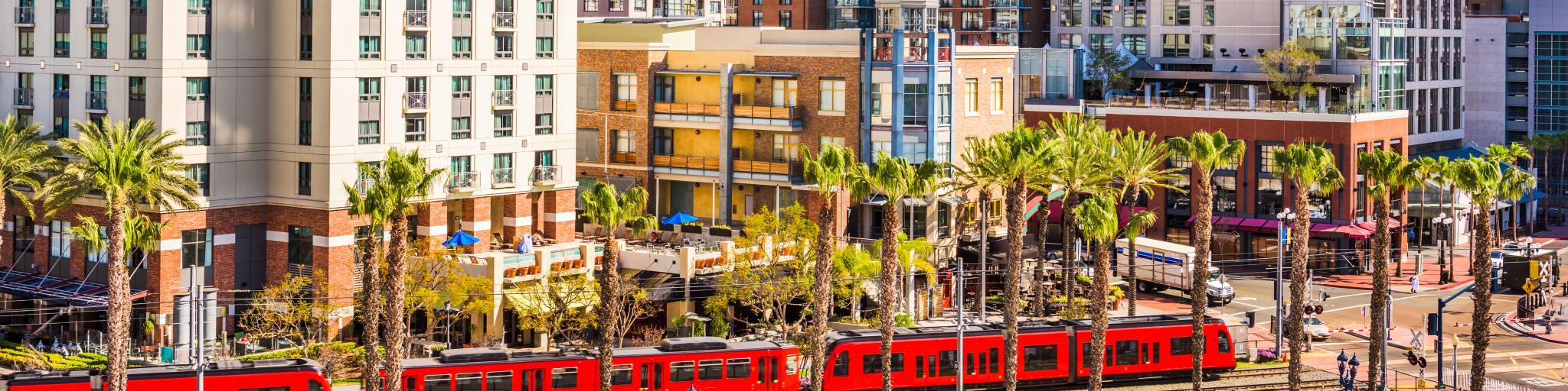 A classic red trolley in San Diego's Gaslamp neighborhood.