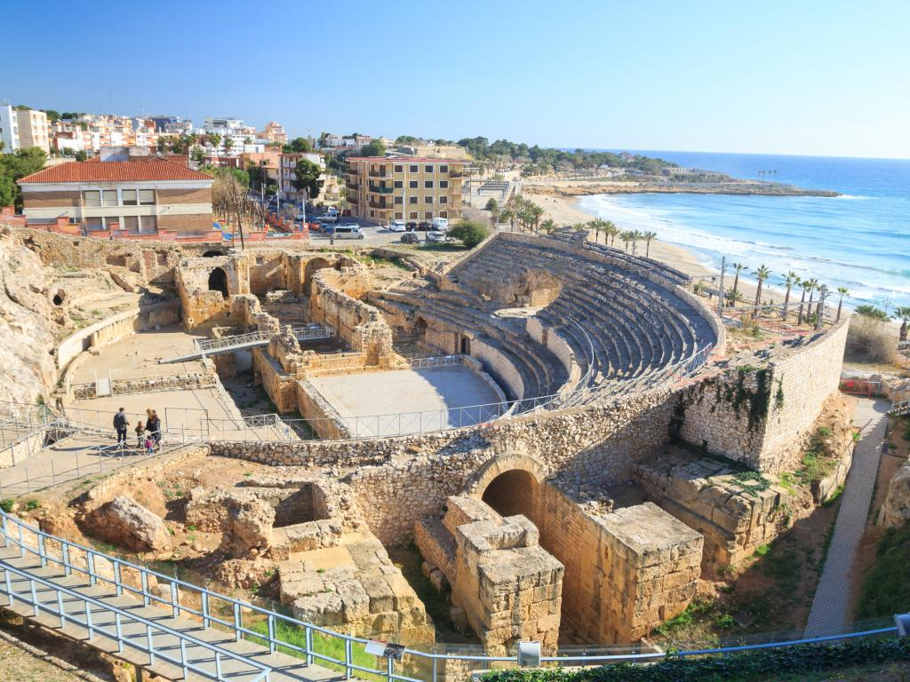 Amphitheatre from the Roman city of Tarraco, now Tarragona Spain located by the beach