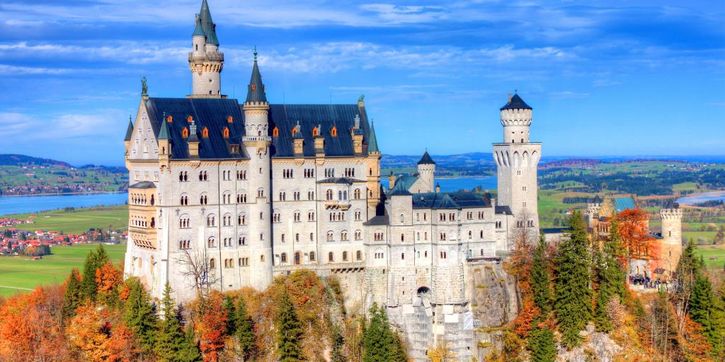 The  majestic Neuschwanstein Castle,  one of the main attractions along Germany's Romantic Road
