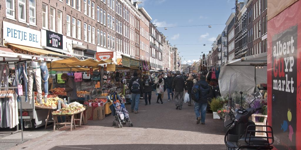 People shopping at Albert Cuyp Market, Amsterdam