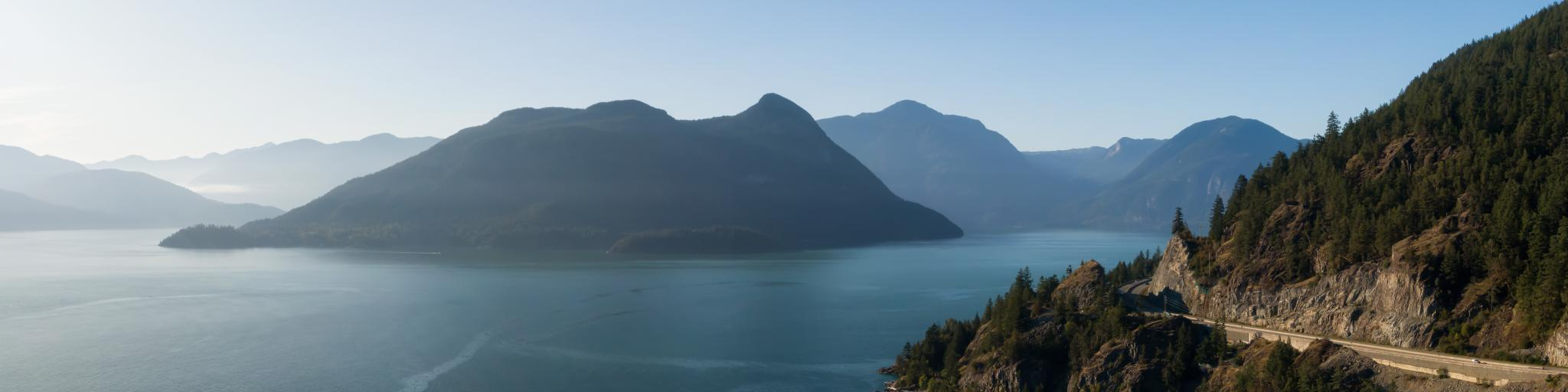 Sea to Sky Highway in Howe Sound, north of Vancouver - one of the most scenic roads to drive across Canada