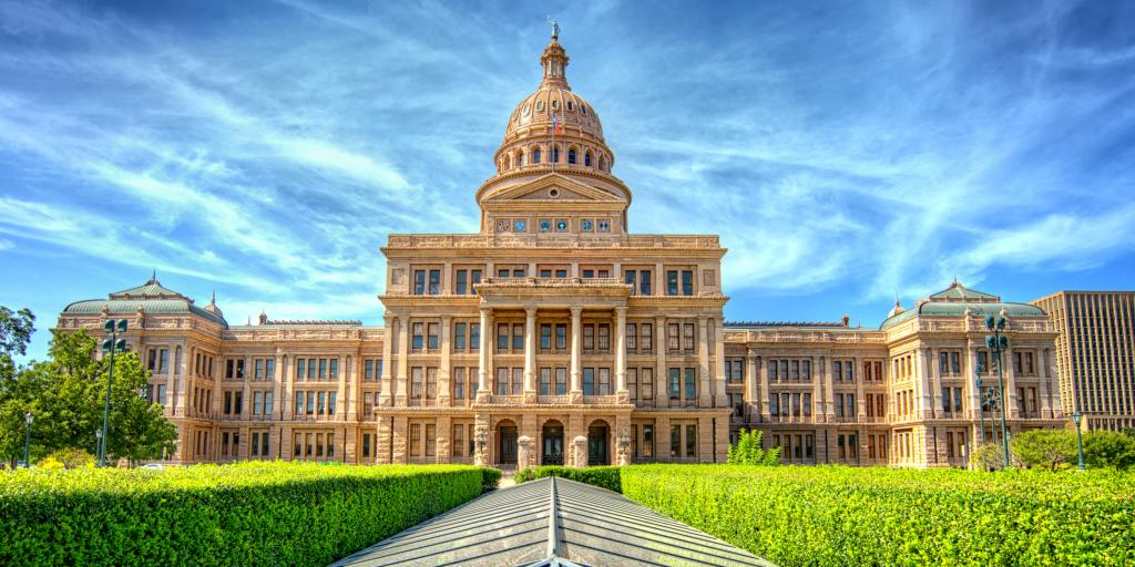 Texas State Capitol building against a blue sky