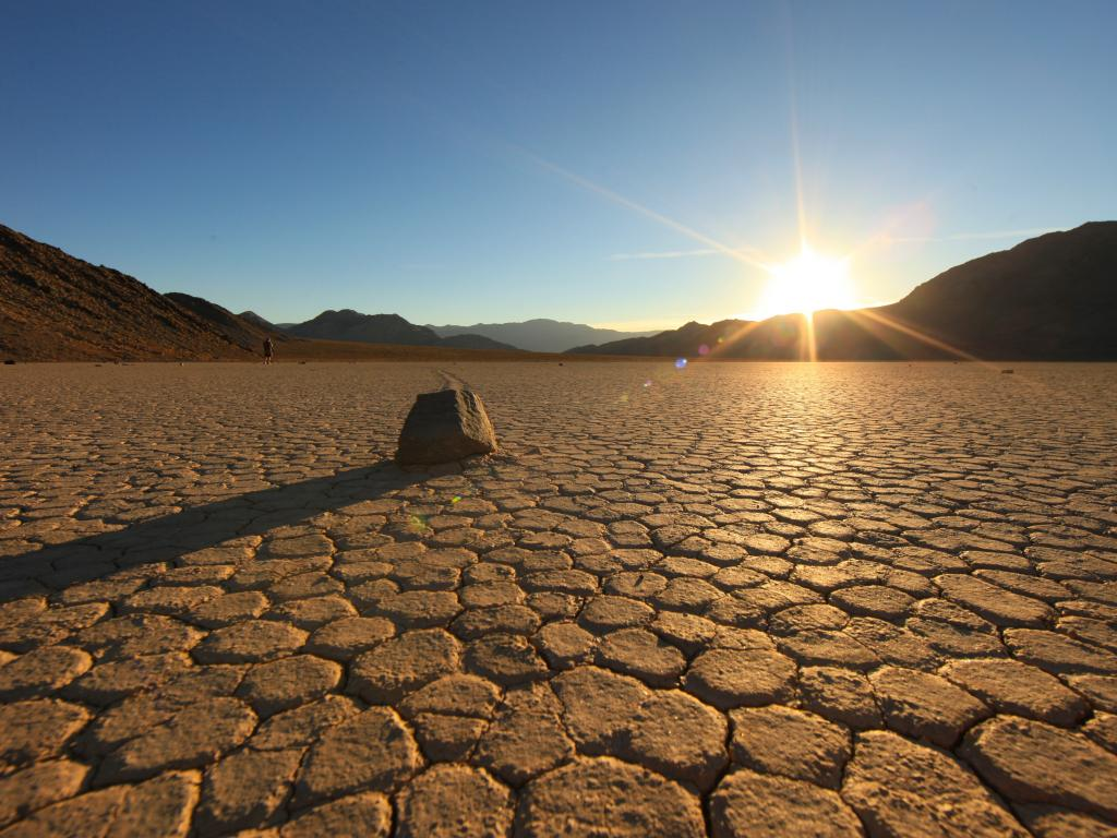 Dry Racetrack Playa with cracks in the Death Valley National Park, California