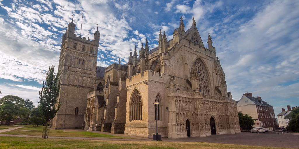 Exeter Cathedral against a blue sky