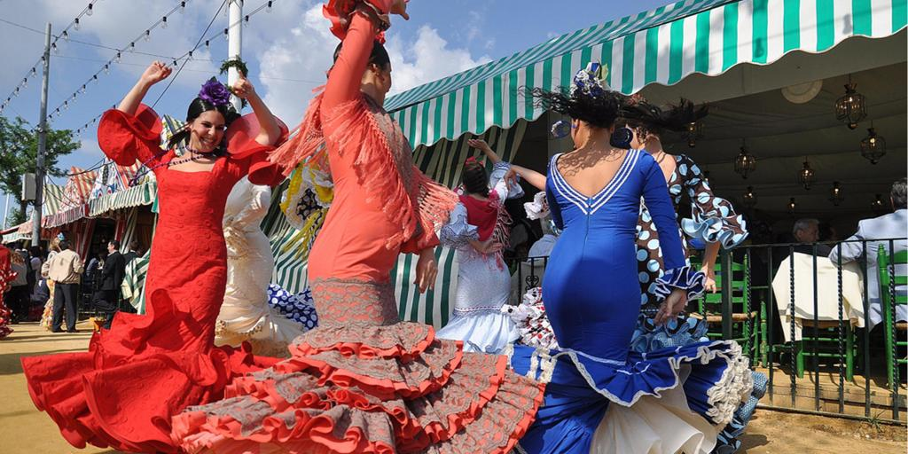 Flamenco dancers at the Feria de Abril in Seville, Spain