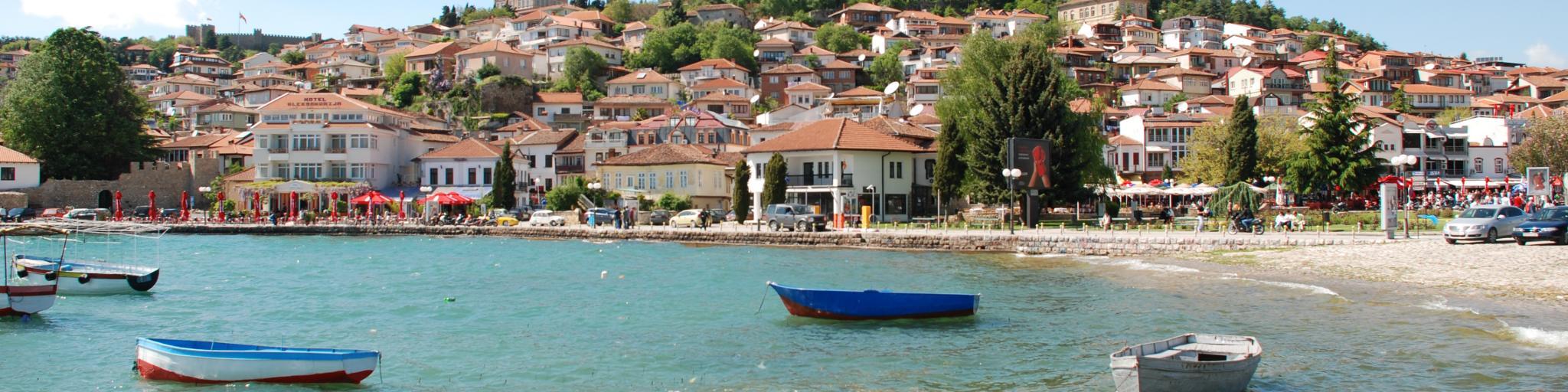 Wooden boats float on Lake Ohrid