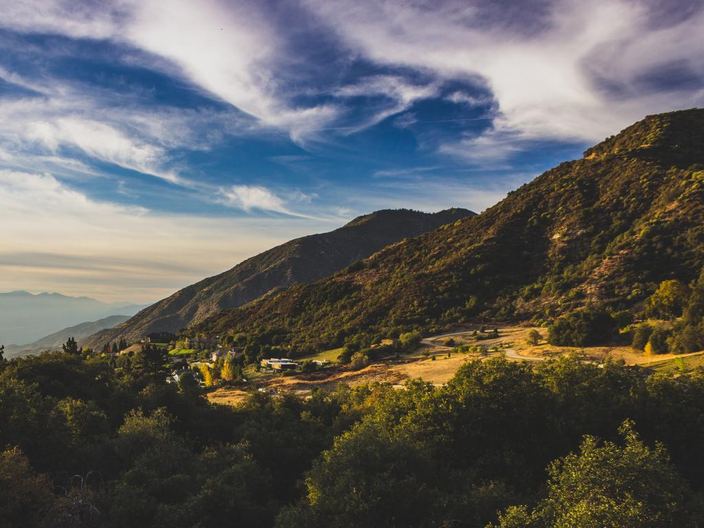 View of the San Bernardino Mountains from Oak Glen at sunset in California