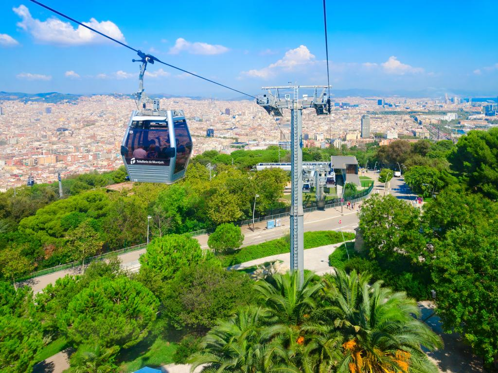 Cable car from Barcelon to Montjuic mountain