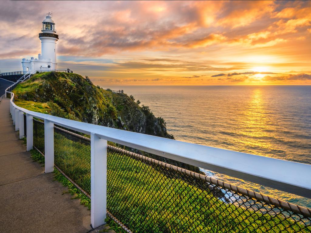 Sunrise at the Cape Byron Lighthouse that overlooks Byron Bay, NSW, Australia.