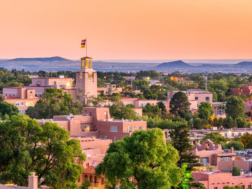 The unique architecture of downtown Santa Fe in the soft evening light, New Mexico