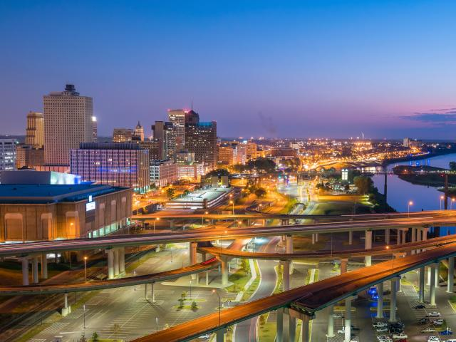 Skyline of downtown Memphis at night, Tennessee