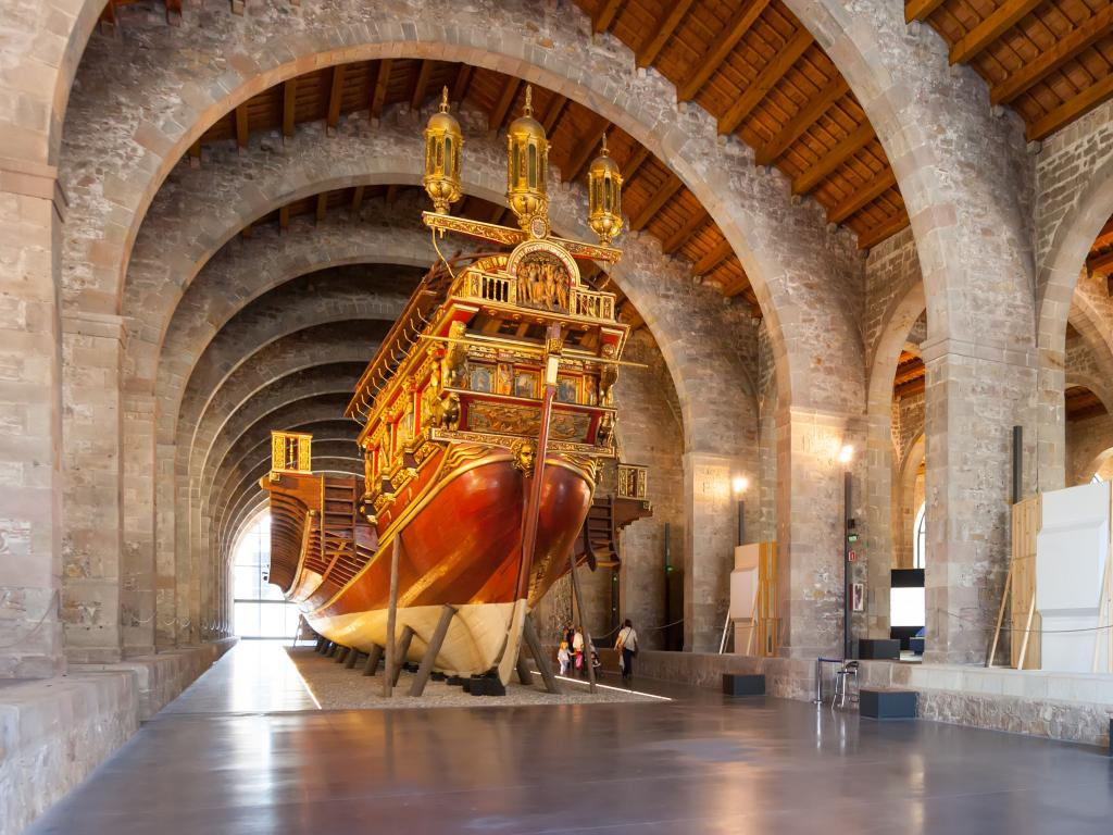 Medieval warship in the Museu Maritim in Barcelona