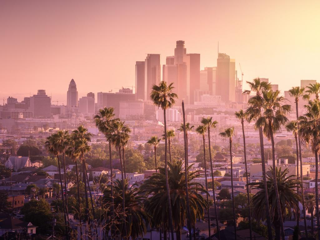 Sunset over Los Angeles, California