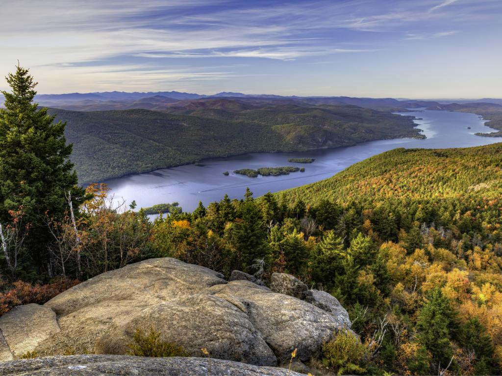 Lake George and the Tongue Mountains as seen from Black Mountain in New York State.