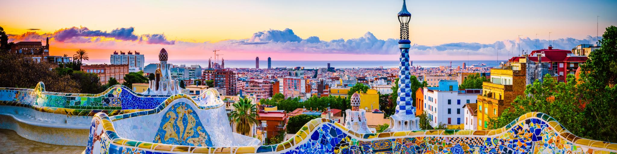 Barcelona at sunrise viewed from park Guell