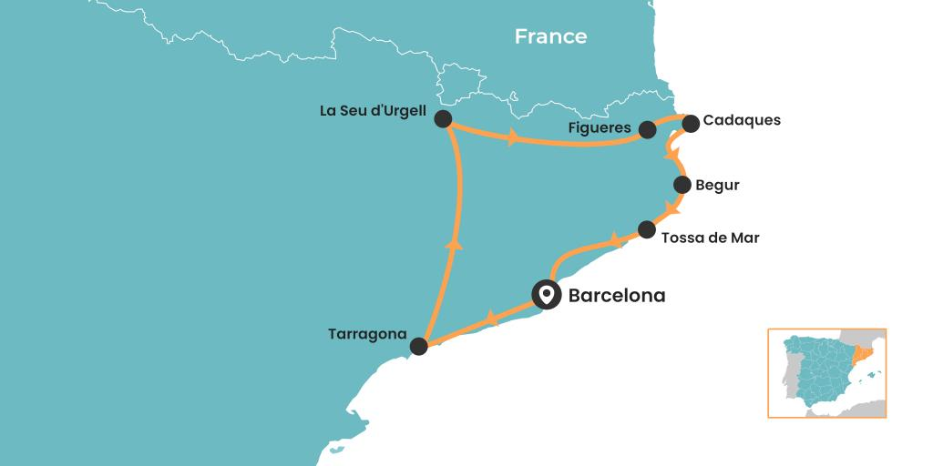 Catalonia road trip starting and ending in Barcelona - map