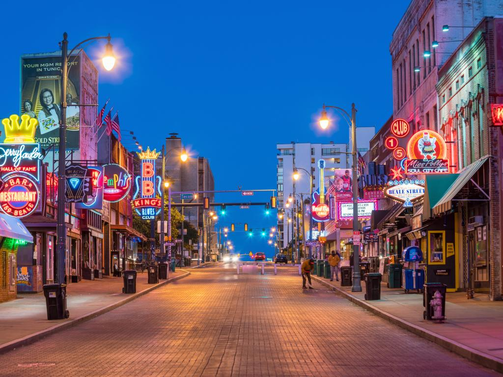 Beale Street in Memphis, Tennessee on a perfect clear night with deep blue skies