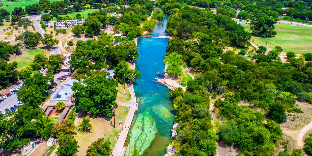 Aerial shot of Barton Springs Pool, Austin