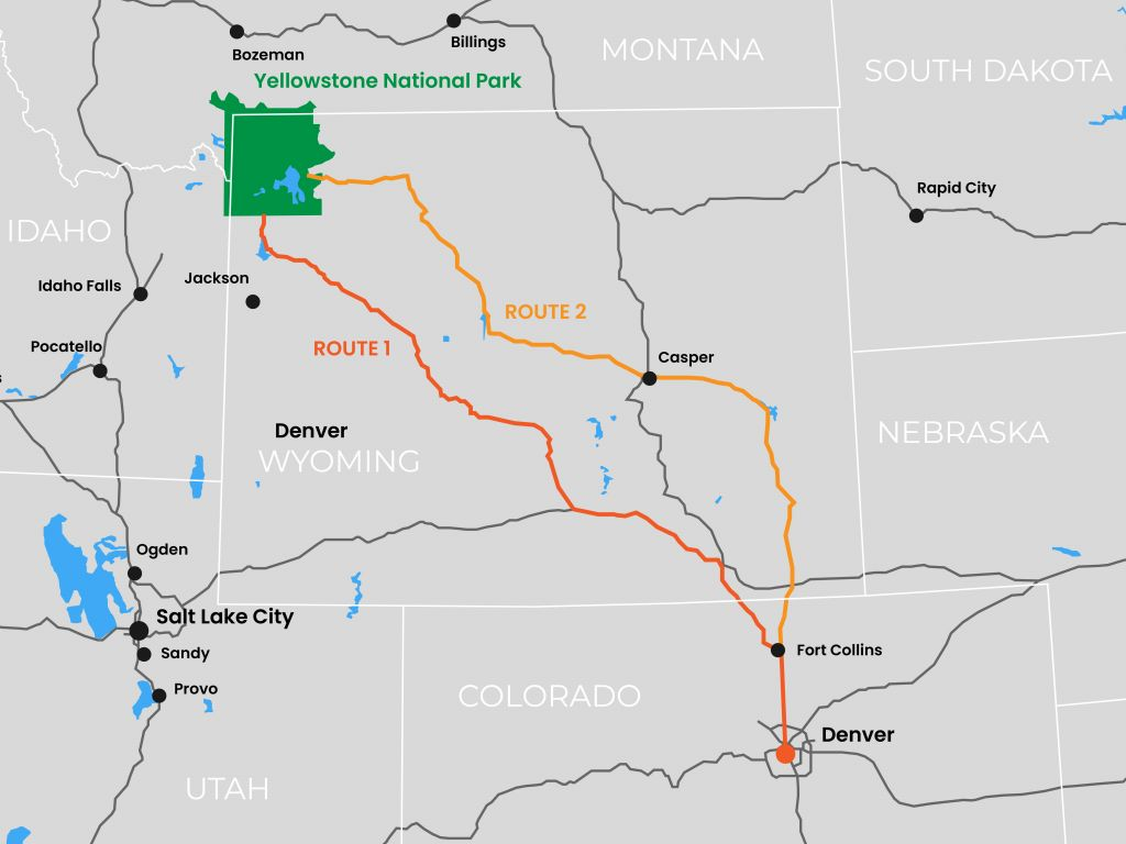 Road trip from Denver to Yellowstone National Park - road map and route details