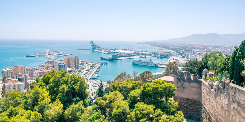A view of Malaga's port and the high-rises by the water as seen from Mount Gibralfaro