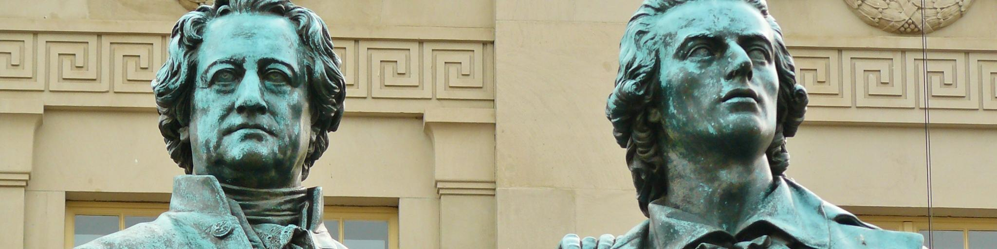 The statue of Goethe and Schiller in Weimar, Germany