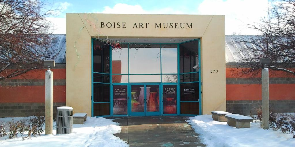 Snow outside the entrance to Boise Art Museum in Idaho