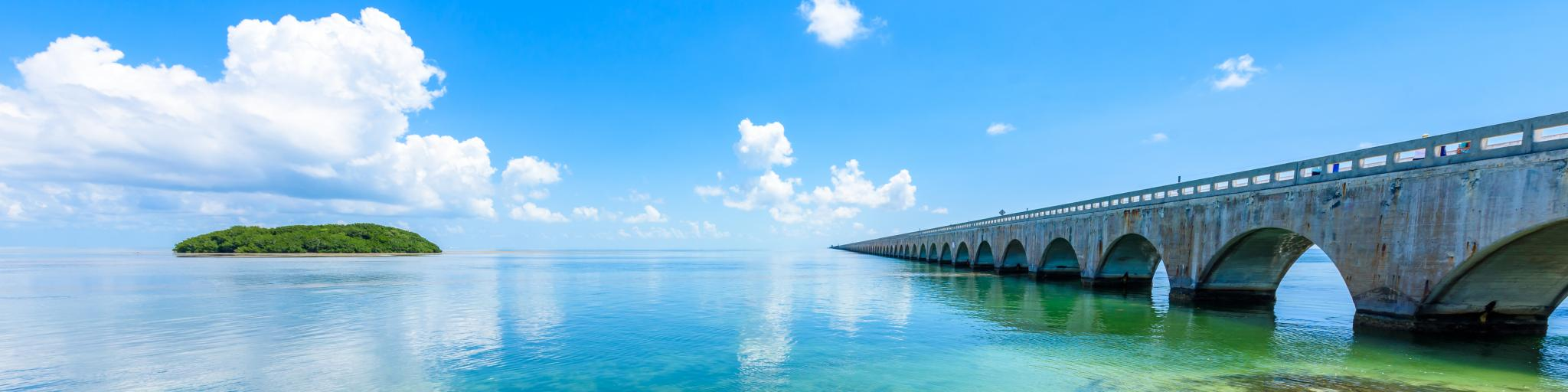 Seven Mile Bridge leading to Florida Keys from mainland Florida.