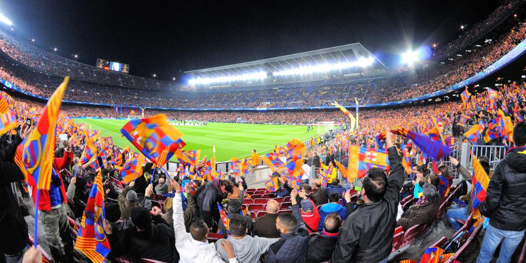 Barcelona fans at the Camp Nou stadium in Barcelona