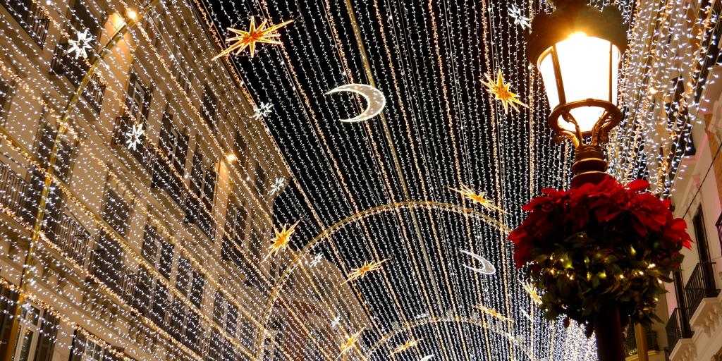 Christmas lights on Calle Larios in Malaga, Spain