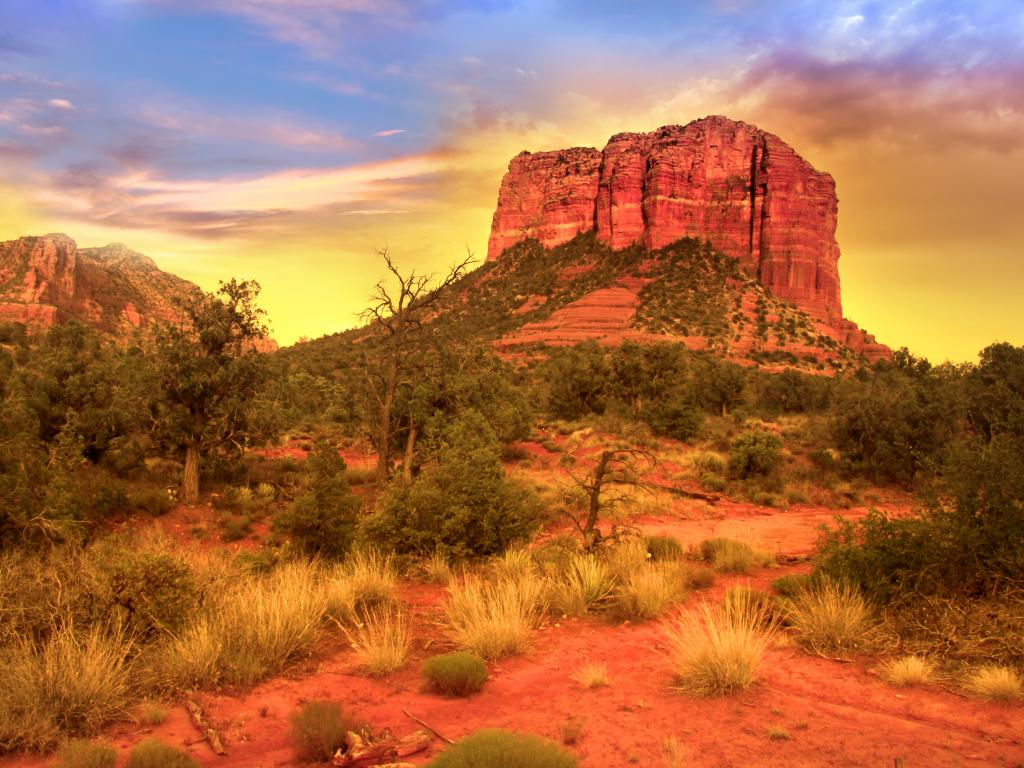 Towering red rocks in the Red Rock State Park near Sedona as the sun sets