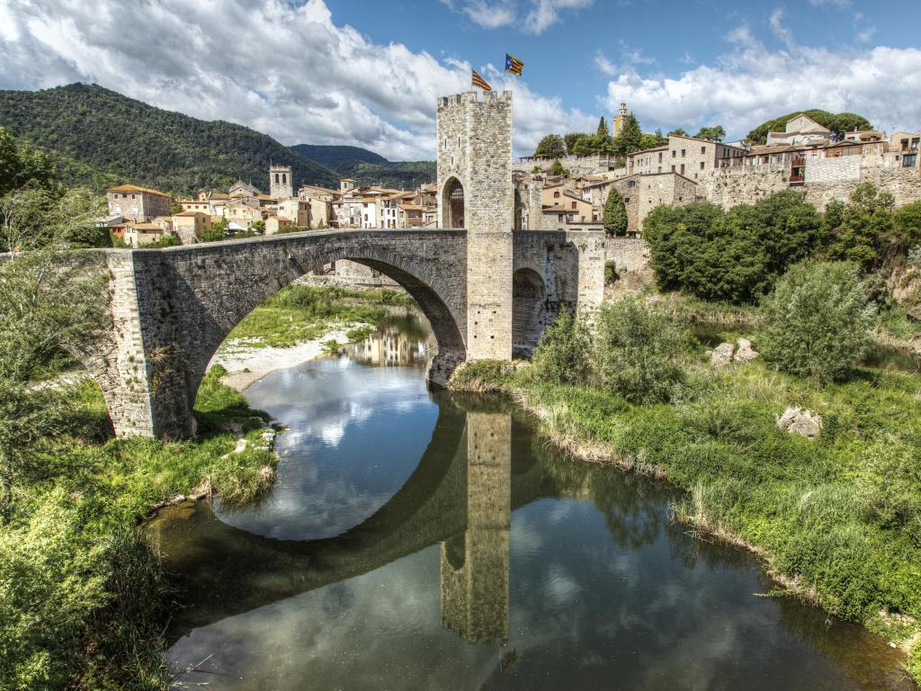 Spectacular medieval bridge of Besalu, Spain